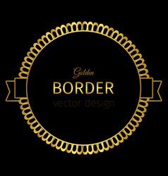 golden circle label with lacy border vector image vector image