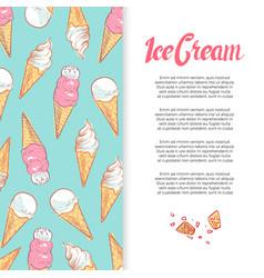 hand drawn ice cream cones banner design vector image vector image