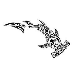 maori style hammer shark tattoo vector image vector image