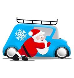 Santa pushing a blue mini car vector image vector image