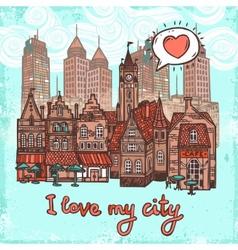 Sketch city background vector image