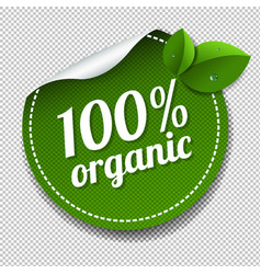 100 organic product label isolated transparent vector