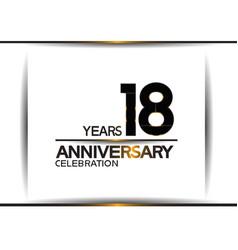18 years anniversary black color simple design vector