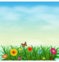 A flower garden with a butterfly and a ladybug vector