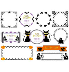 a happy halloween frame set vector image