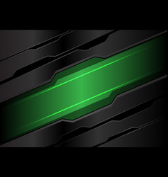 Abstract green light banner on dark gray metal vector