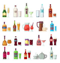 Alcoholic and soft drinks beverages in glass and vector