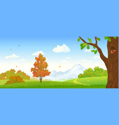 Autumn forest panorama vector