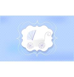 Baby boy blue stroller for newborn vector