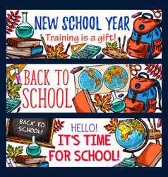 Back to school sketch stationery banners vector