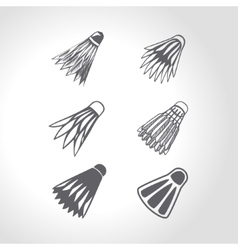 Badminton shuttlecock or birdie set vector image