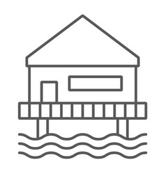 beach bungalow thin line icon seaside and hut vector image