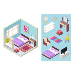 Bedroom isometric bed lamp chair vector