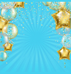 birthday poster with golden star balloons and vector image