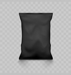 black empty plastic snack bag mockup vector image