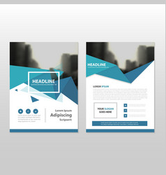 Blue polygon annual report leaflet brochure vector