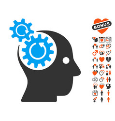 Brain gears rotation icon with dating bonus vector