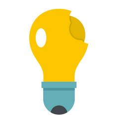 Broken yellow lightbulb icon isolated vector