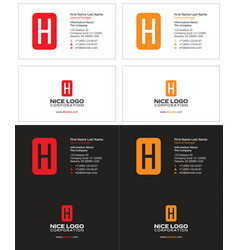 Business card with the letter h square vector