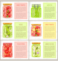 Canned tomatoes and green peas vector