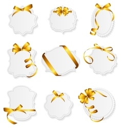 Card with Gold Ribbon and Bow Set vector image