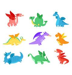 cartoon dragons fairy tale dragon funny reptile vector image