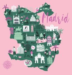 cartoon map madrid spain print design vector image