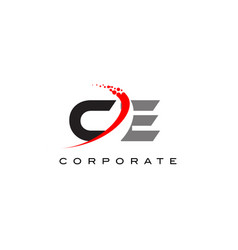 ce modern letter logo design with swoosh vector image