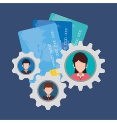 Character gears credit card banking vector