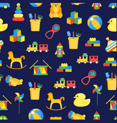 child toys background pattern on a blue vector image