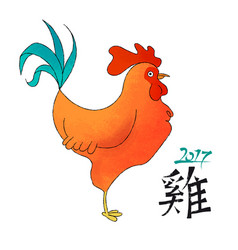 chinese new year 2017 hand drawn rooster doodle vector image