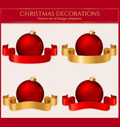 christmas balls with ribbons set design vector image