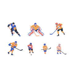 Collection with young and adult male players vector