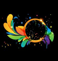 colorful abstract decoration with circle frame on vector image