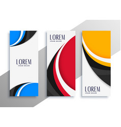 colorful wavy vertical business card or banner vector image