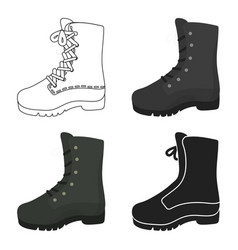 Combat boot icon in cartoon style isolated on vector
