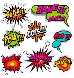 comic speech bubbles burst the boom wow hey ok vector image