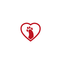 creative pet foot heart logo vector image