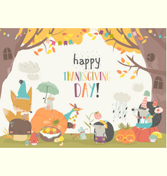 Cute animals celebrating thanksgiving day in the vector