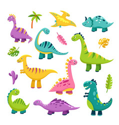 cute dino cartoon baby dinosaur stegosaurus vector image