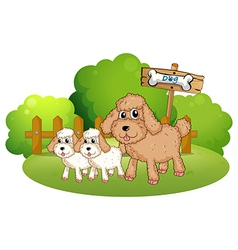 Cute dogs near the signboard vector