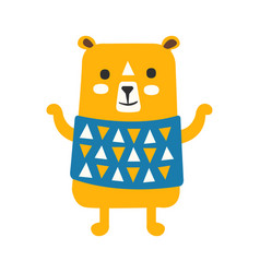 cute orange teddy bear in blue vest standing vector image