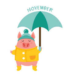 cute pig in a rain coat and boots holding an vector image