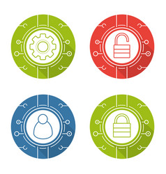 Cyber security flat design long shadow icons set vector