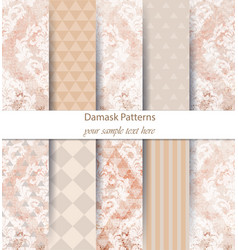 Damask patterns set collection classic vector