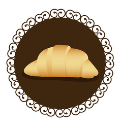 Decorative frame with realistic picture croissant vector