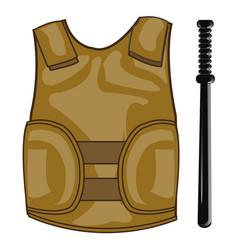 Defensive waistcoat and bat vector
