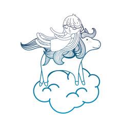 Degraded outline sleeping girl with beauty unicorn vector