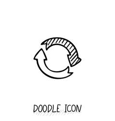 Doodle circle arrow icon Eco recycle pictogram vector image