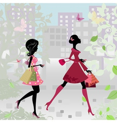 fashion shopping city girls vector image
